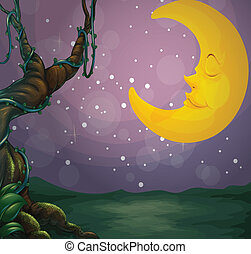 A giant tree and a sleeping moon