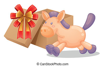 A gift box beside a toy horse
