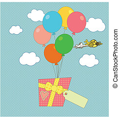 A gift carried by balloons - A sweet congratulatory card...