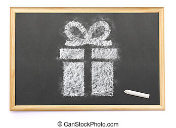 a gift drawn on a blackboard with chalk.(series)