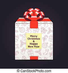 A gift with the inscription of a Merry Christmas and Happy New Year on a sticky note