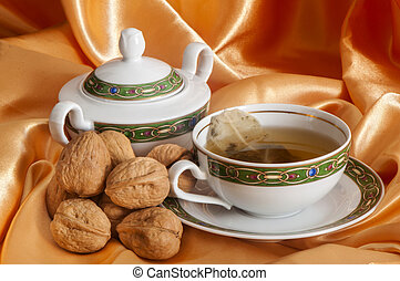 ginger tea and orange with nuts