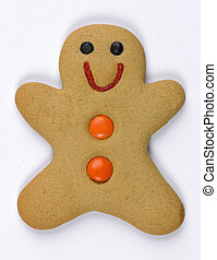 A gingerbread man on white background