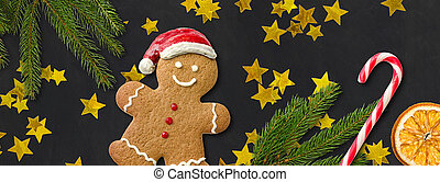 A gingerbread man with christmas decoration