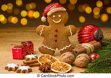 A gingerbread santa with christmas decorations