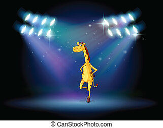 A giraffe dancing on the stage with spotlights