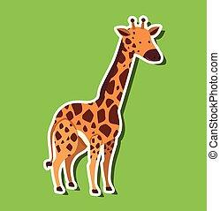 A giraffe sticker on green background
