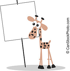 a giraffe with a placard