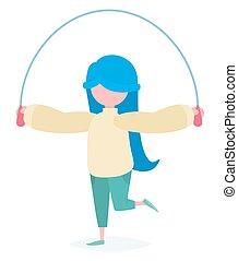 a, girl, à, a, corde à sauter