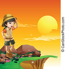 A girl above a rock near the cliff