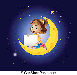 A girl above the moon with an empty signboard - Illustration...