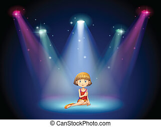 A girl acting on the stage with spotlights