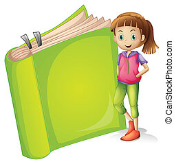 Illustration of a girl and a book on a white background