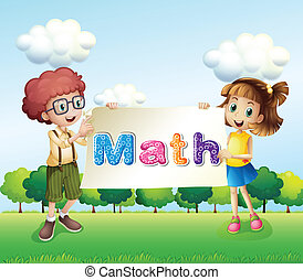 A girl and a boy holding a math signage
