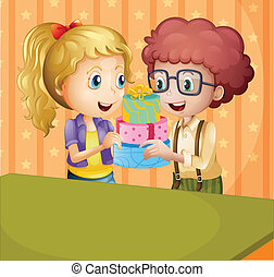 A girl and a boy holding gifts