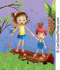 A girl and a boy in the forest