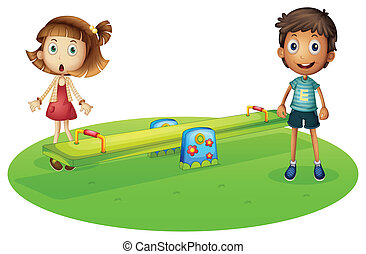 A girl and a boy near the seesaw - Illustration of a girl...