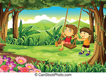 A girl and a boy playing at the jungle