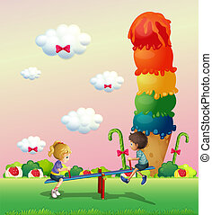 A girl and a boy playing at the park with a giant icecream