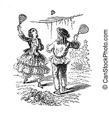 A girl and a boy playing featherball - Outdoor...