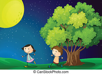 A girl and a boy playing under the bright fullmoon