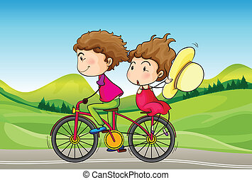 A girl and a boy riding in a bike