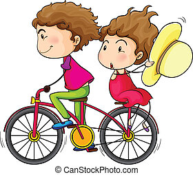 A girl and a boy riding in a fast moving bike