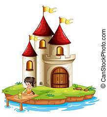 A girl and a frog at the bridge in front of a big castle -...
