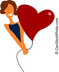 A girl and a heart balloon, vector or color illustration.