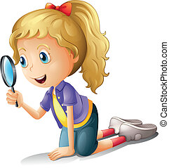 A girl and a magnifier - Illustration of a girl and a ...