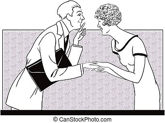 A girl and a man tell secrets. Stock illustration.