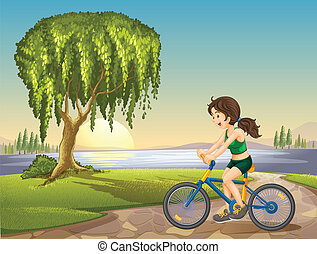 a girl and bicycle