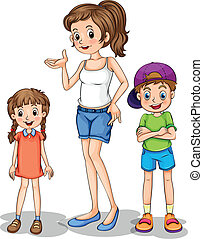 A girl and her siblings - Illustration of a girl and her...
