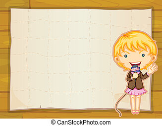a girl and paper sheet - illustration of a girl and paper...