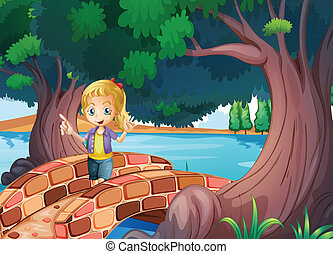 A girl at the bridge near the giant trees