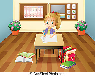 A girl at the desk - Illustration of a girl at the desk