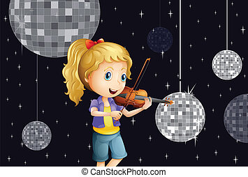 A girl at the disco house playing with the violin