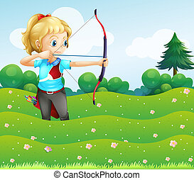 A girl at the garden holding a bow and an arrow