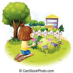 A girl at the garden