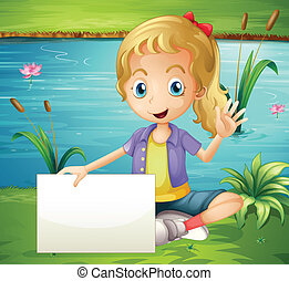 A girl at the pond holding an empty signboard