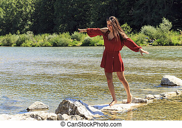 A girl at the river