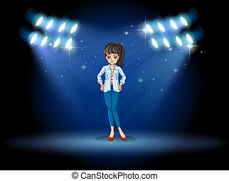 A girl at the stage