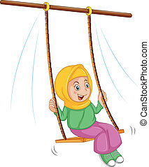 Illustration of girl at the swing on a white background