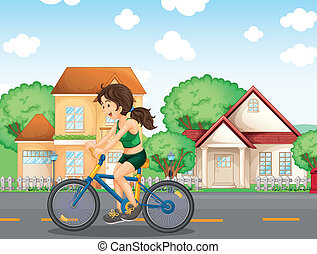 A girl biking