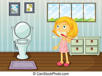 A girl brushing teeth - Illustration of a girl brushing...