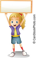 A girl carrying an empty signboard - Illustration of a girl ...