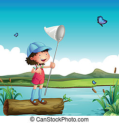 A girl catching butterfly