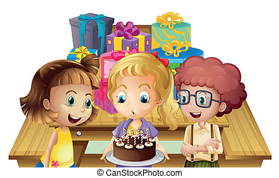 A girl celebrating her birthday with her friends -...
