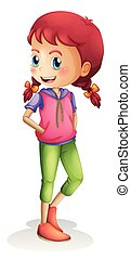 A girl character on white background
