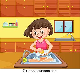 A Girl Cleaning Dish at Kitchen